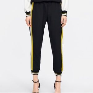 NWOT ZARA BLACK JOGGERS WITH SIDE STRIPE YELLOW